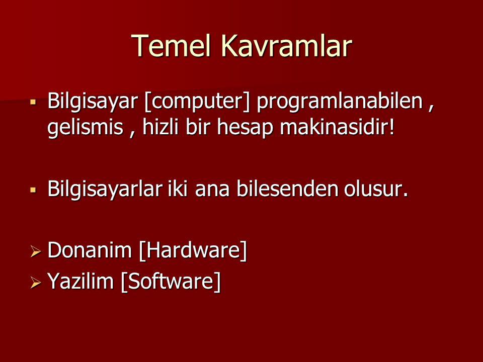 Temel Kavramlar Bilgisayar [computer] programlanabilen , gelismis , hizli bir hesap makinasidir! Bilgisayarlar iki ana bilesenden olusur.